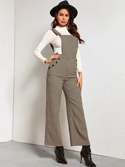 Buttoned Slant Pocket Houndstooth Overall Jumpsuit