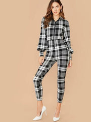 Collared Zip Up Lantern Sleeve Plaid Jumpsuit