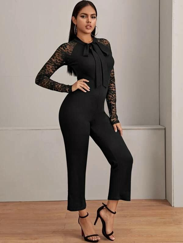 Contrast Lace Tie Neck Solid Jumpsuit