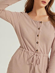 Drawstring Waist Half Button Front Palazzo Jumpsuit