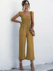 Flare Leg Shirred Cami Jumpsuit