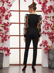 Flocked Floral Organza Sleeve Split Hem Jumpsuit