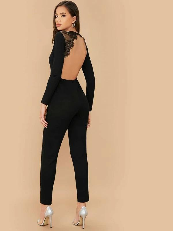 Lace Detail Backless Solid Jumpsuit