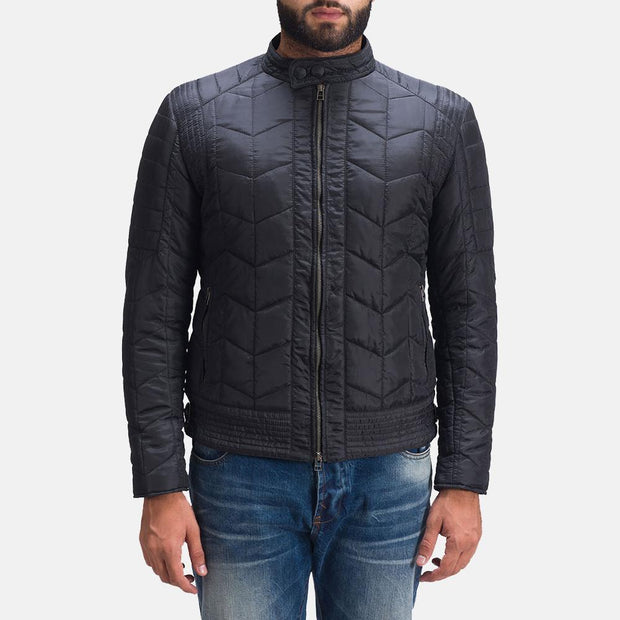 Nyle Quilted Windbreaker Filling lightly padded Zipper Snap Button Band Jacket