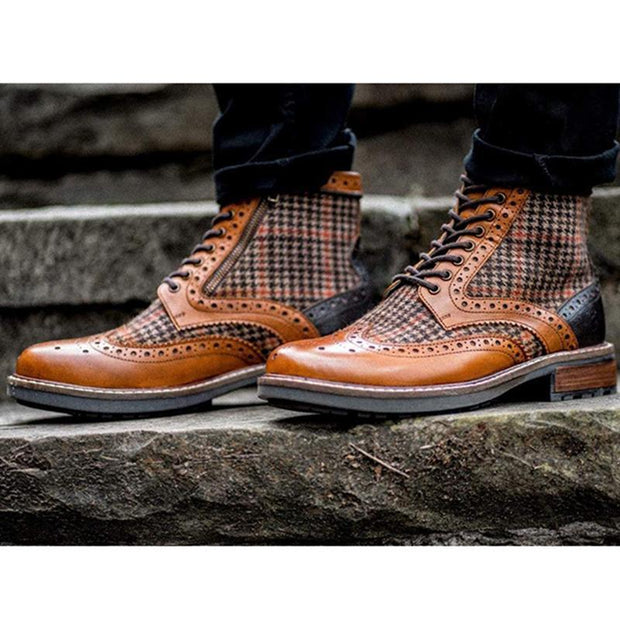 Men's Lace Up Fashion Casual Plaid Pattern Boots