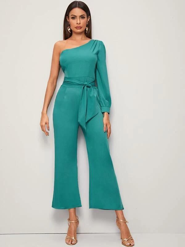 One Shoulder Self Tie Flare Leg Jumpsuit
