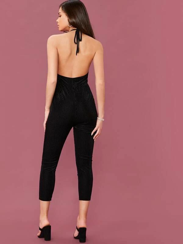 Open Back Ribbed Velvet Halter Jumpsuit