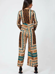 Plunging Scarf Print Wide Leg Jumpsuit