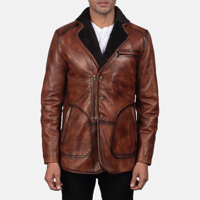 Rocky Brown Fur Leather Sheepskin Burnishing Fully faux fur lined Coat
