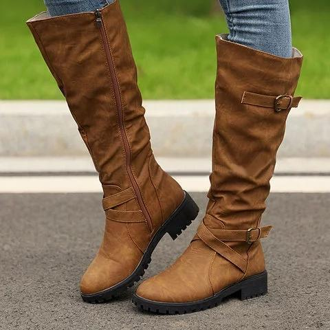PU Buckle Low Heel Casual Round Toe Boots
