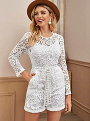 Slant Pocket Self Tie Lace Romper