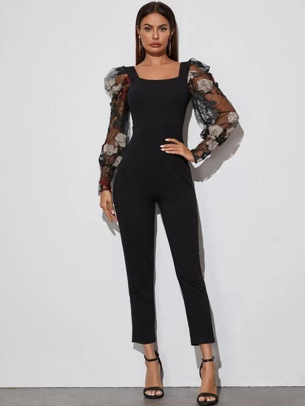 Square Neck Embroidered Mesh Gigot Sleeve Jumpsuit