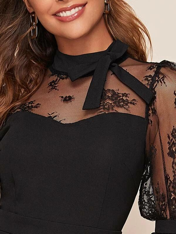 Tie Neck Lace Sheer Yoke Jumpsuit