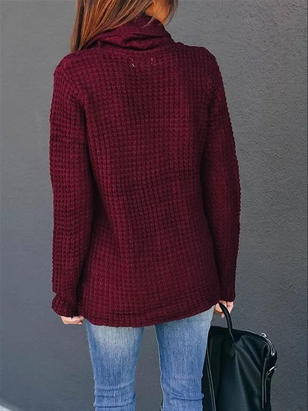Long Sleeve Solid Cotton Cowl Neck Sweater