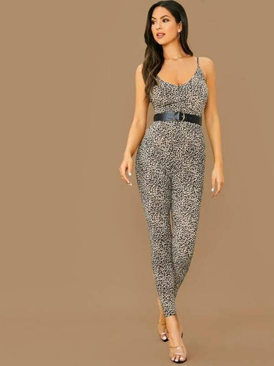 Zipper Back Leopard Slip Jumpsuit