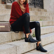Pointed Toe Rivet Ankle Boots