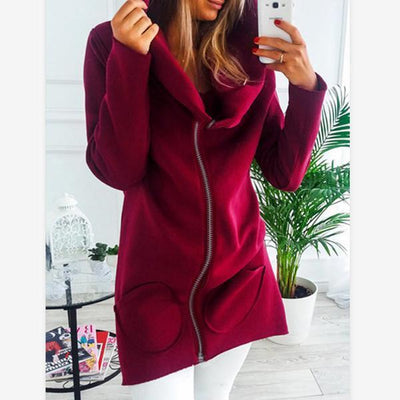 Women's Slim Zipper Solid Color Coats