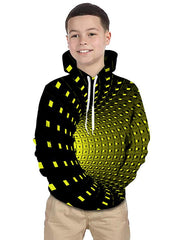 Kids Toddler Boys' Active Basic Rubik's Cube Geometric Galaxy 3D Print Long Sleeve Hoodie & Sweatshirt Black