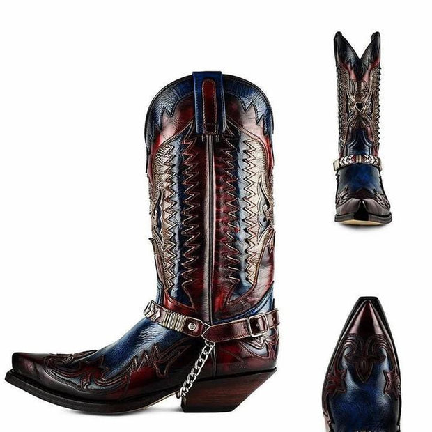 Men's Retro Leather Cowboy Boots