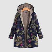 Floral Printed Plus Sizes Warm Coats