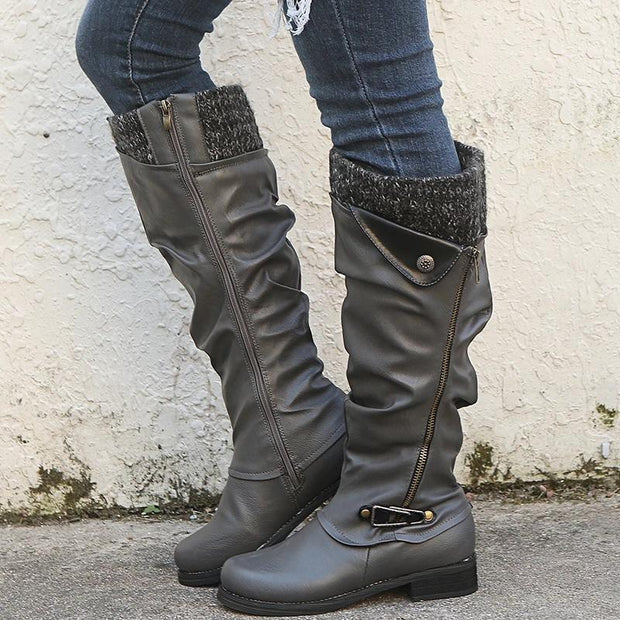 Fashion Round Toe Flat Knee High Boots