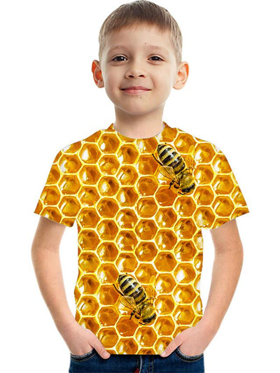Kids Boys' Basic Street chic Color Block 3D Print Short Sleeve Tee Yellow