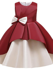Kids Girls' Cute Butterfly Color Block Bow Patchwork Sleeveless Knee-length Dress Wine