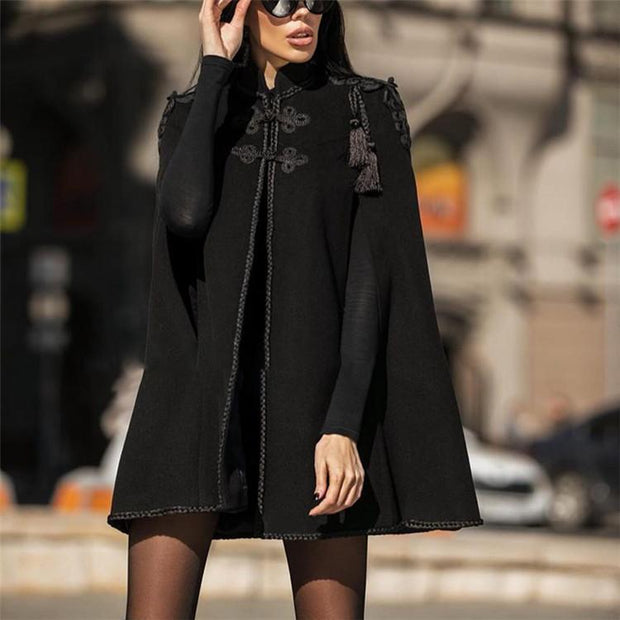 Winter Solid Color Buttoned Loose Coats