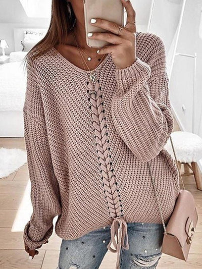 Women's Casual Knitted Solid Colored Pullover Long Sleeve Sweater Cardigans V Neck Spring Fall Black Red Yellow