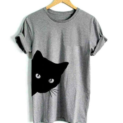 Corachic.com - Cat Looking Print Women T-Shirt Cotton Casual Top Tee - Blouse & Tops