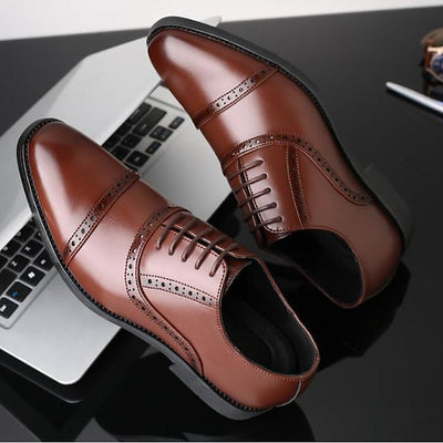 Men's Fall Business Daily Oxfords PU Breathable Height-increasing Wear Proof Black / Brown
