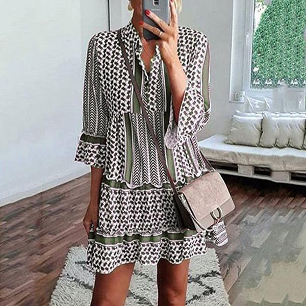 Printed Loose Ruffle Sleeve Dress
