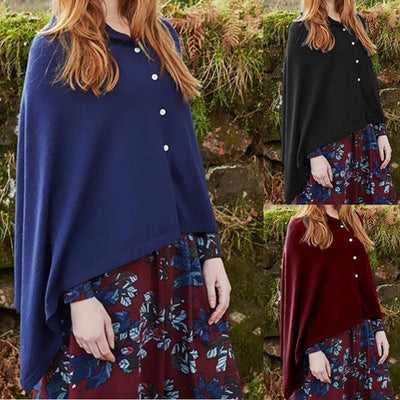 Women's Solid Color Buttoned Cloak Coats