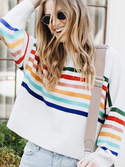 Striped Stitching Color Matching Sweater