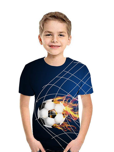 Kids Boys' Active Street chic Geometric 3D Patchwork Print Short Sleeve Tee Blue