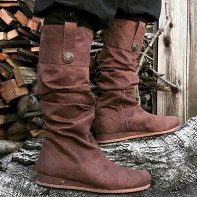 Women Round Toe Belt Buckle Boots