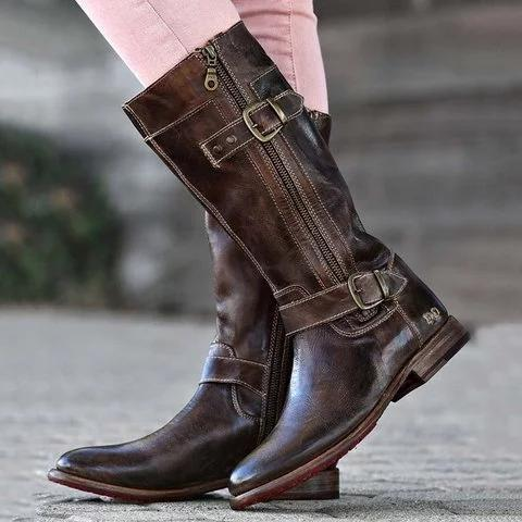 Comfort Side Zipper Boots Adjustable Buckle Low Heel Outdoor Boots