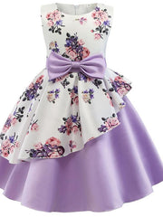 Kids Girls' Flower Floral Sleeveless Dress Purple