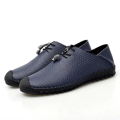 Men's Spring / Summer Casual Daily Oxfords Walking Shoes Cowhide Wear Proof Black / Blue / Brown
