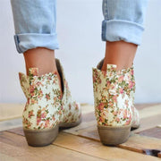 Elegant Floral Slip-On Ankle Boots