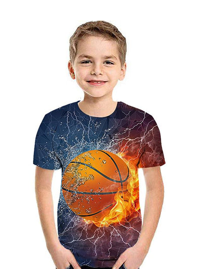 Kids Boys' Active Street chic Geometric Color Block 3D Short Sleeve Tee Brown