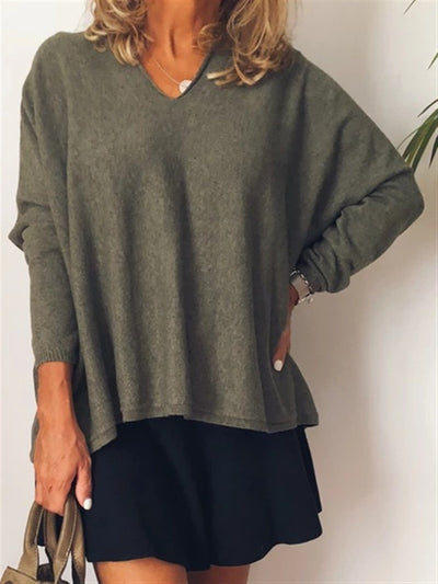 Casual Wool Blend Solid Sweater