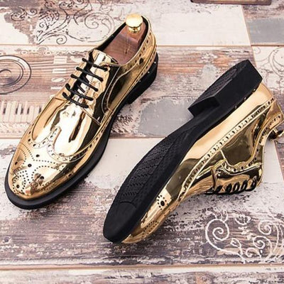 Men's Comfort Shoes Patent Leather Fall Oxfords Black / Gold / Silver / Outdoor