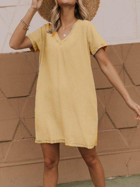 Cotton-Blend Casual V Neck Short Sleeve Dresses