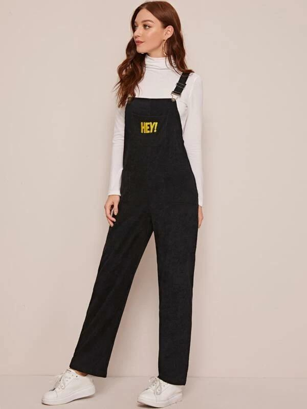 letter Graphic Corduroy Pinafore Jumpsuit
