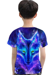 Kids Toddler Boys' Active Basic Wolf Galaxy 3D Animal Print Short Sleeve Tee Blue