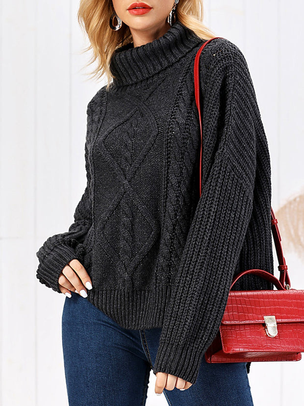 Batwing Cable Turtleneck Casual Sweater