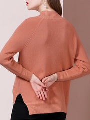 Knitted Solid Slit Asymmetric Casual Sweater