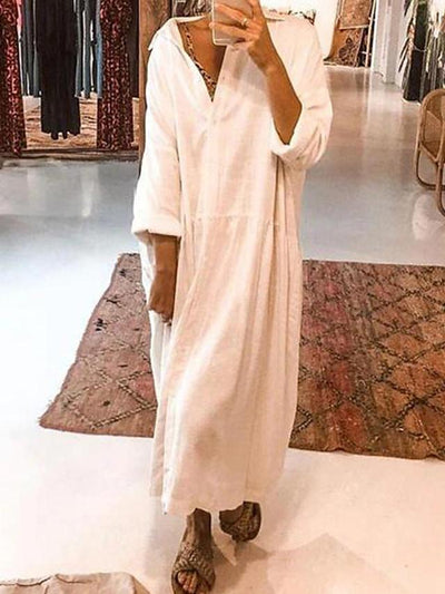 Women's Shift Dress Midi Dress - Long Sleeve Solid Color Patchwork Summer Casual Daily 2020 White S M L XL XXL