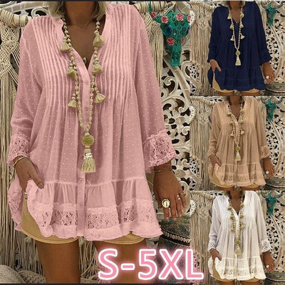 Large Size women's Lace Chiffon Loose Nine-point Sleeve V-neck Dresses